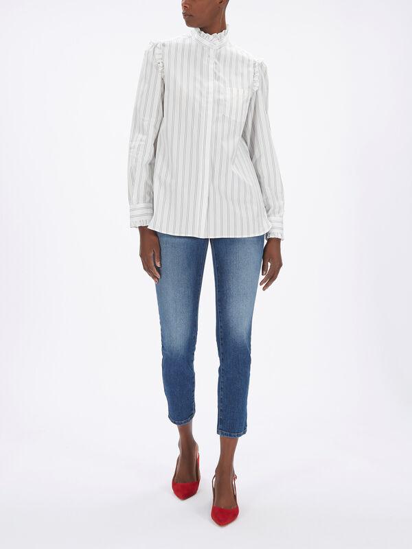 Bronzo Cotton Shirt w/Ruffle Neck