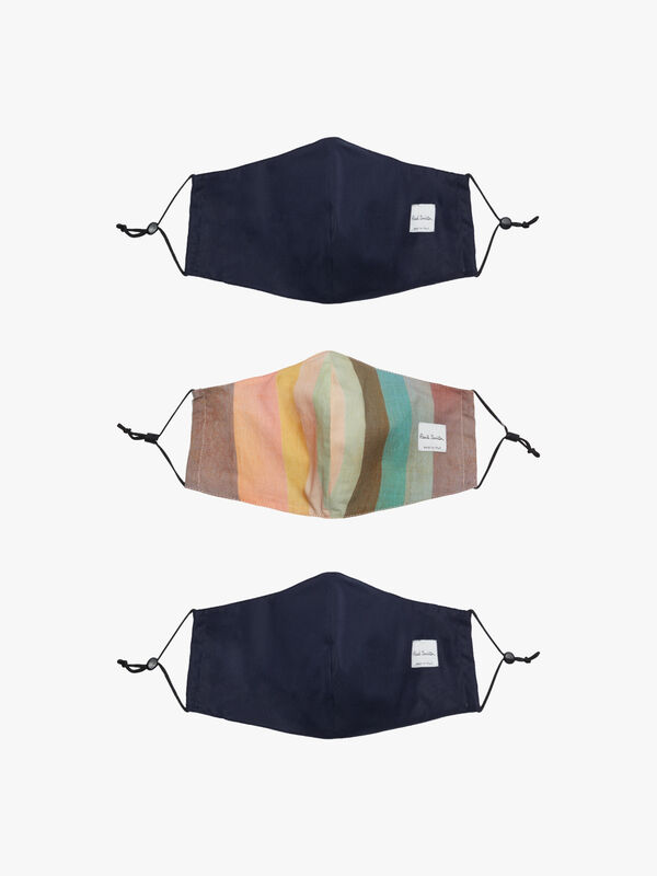3Pack Solids And Stripe Facemasks