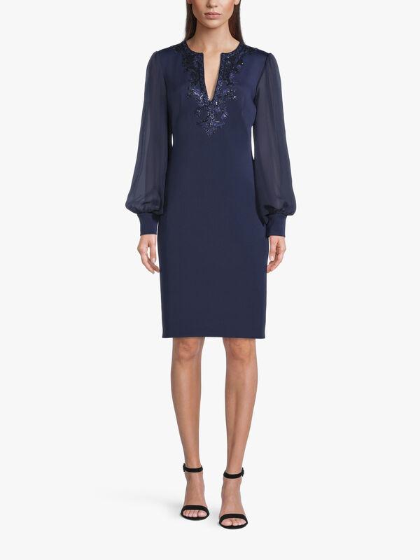 Berch Long Sleeve Neoprene Sequin Dress