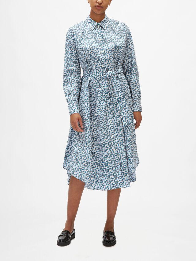 Long Sleeve Asymmetric Hem Maxi Shirt Dress