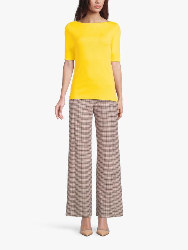 Judy Elbow Sleeve Cotton Rib Top