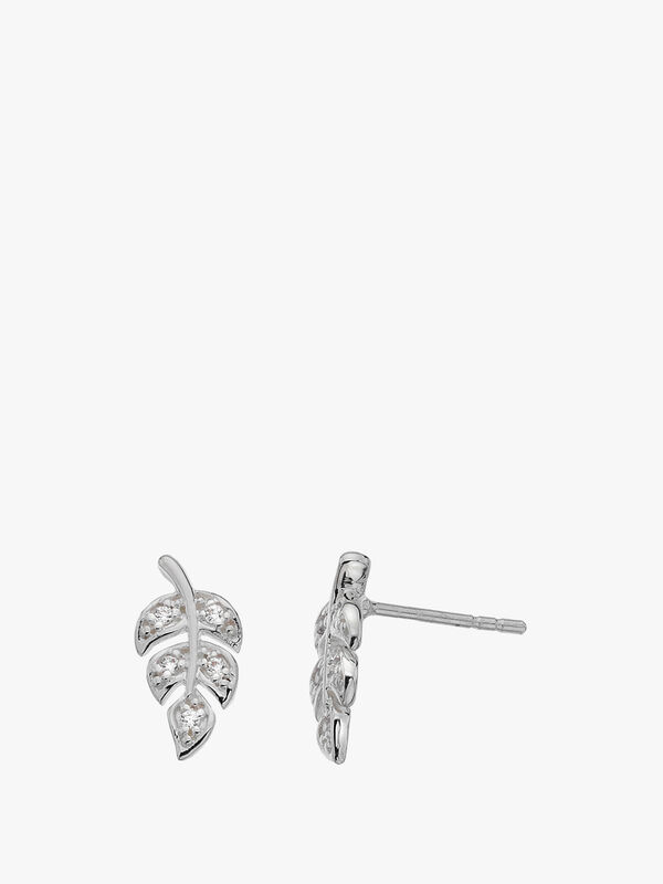 Pave Leaf Stud Earrings