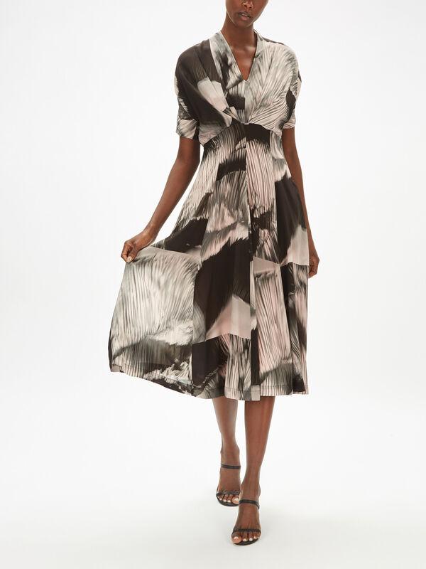 Abstract Print Short Sleeve Dress