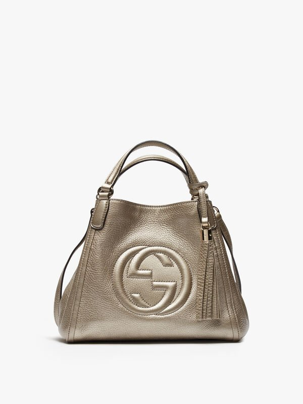 Gucci Silver Metallic Soho Convertible Shoulder