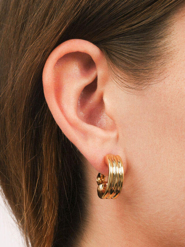 Statement Gold Tone Clip On Hoop Earrings