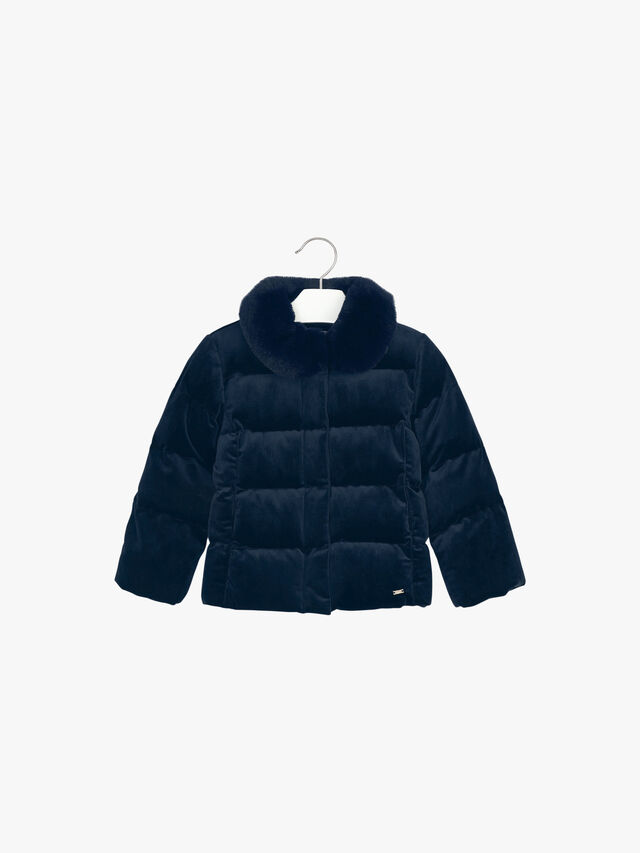 Velvet Puffa With Faux Fur Collar