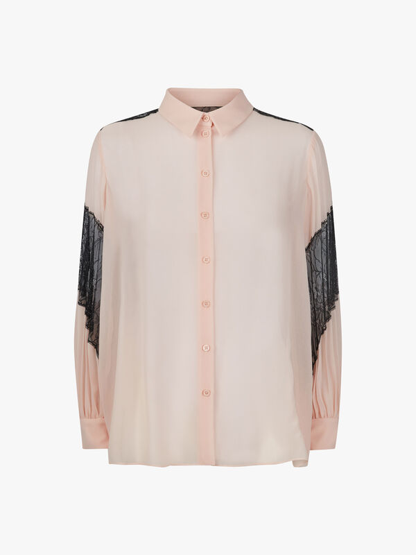 LS Lace Insert Button Through Blouse
