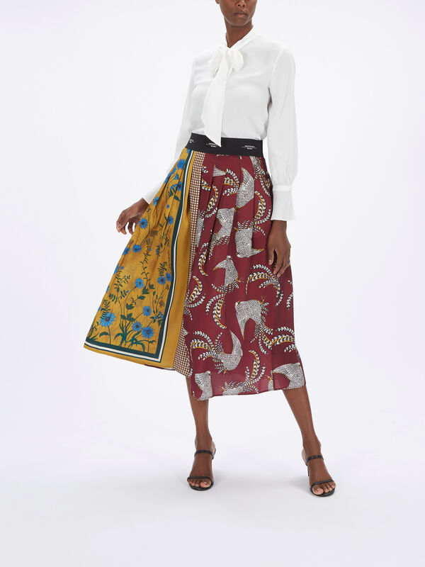 Rennes Printed Pleat Midi Skirt