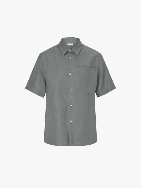 Short Sleeve Big Pocket Linen Shirt