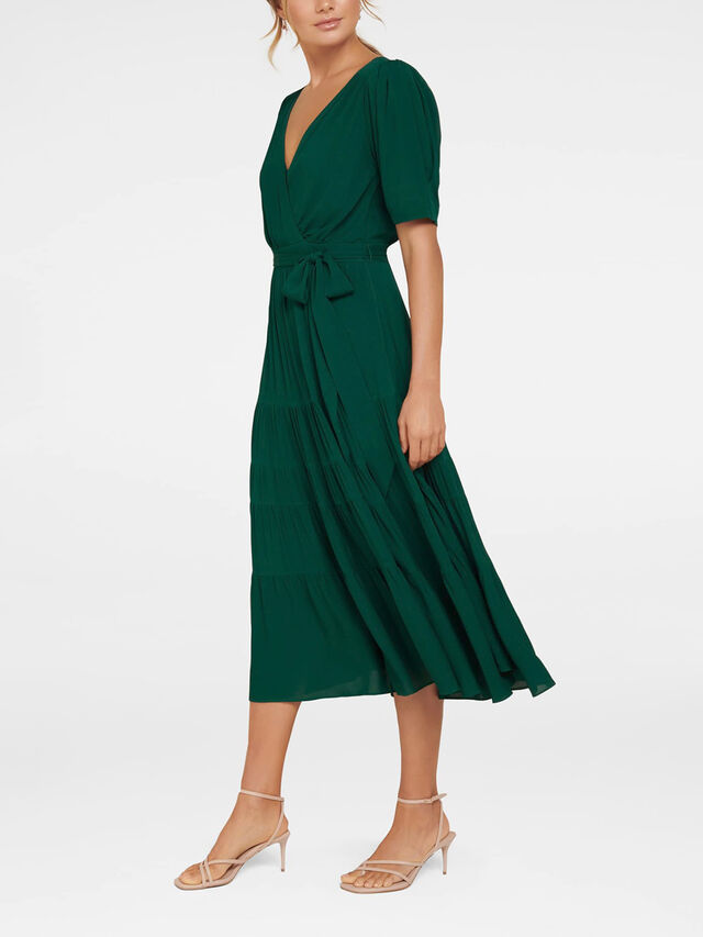 Jordan Puff Sleeve Tiered Midi Dress