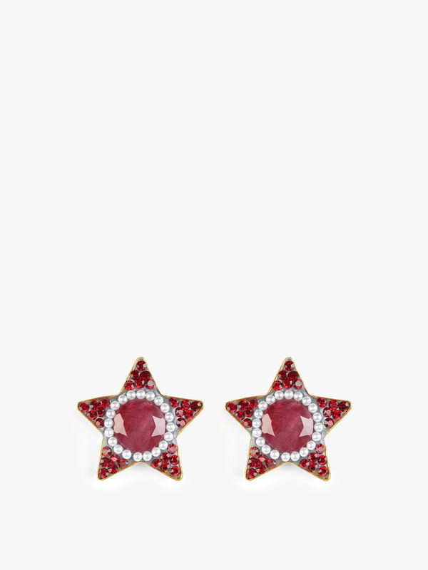 Exclusive Ruby and Pearl Star Stud Earrings