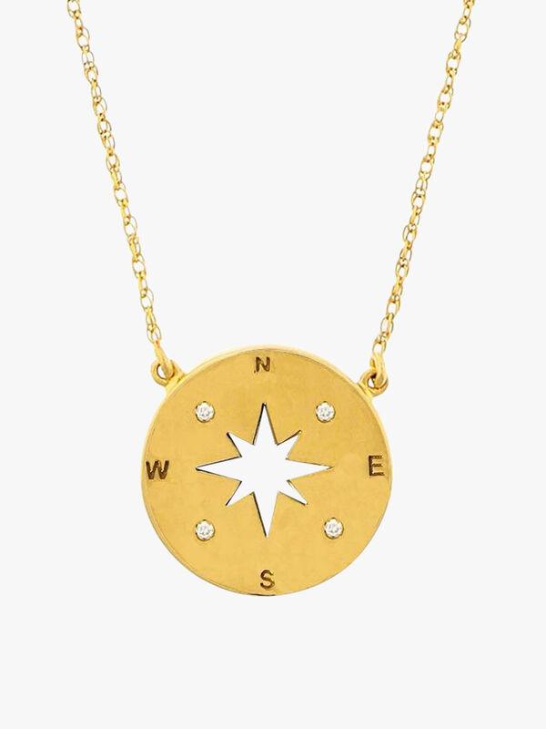 Diamond Set Compass Pendant Necklace