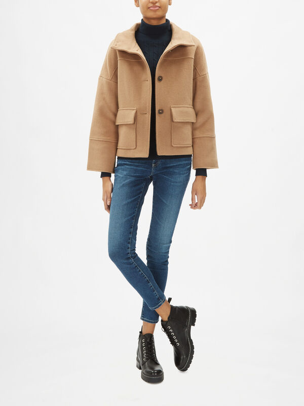 Wool Blend Cropped Coat