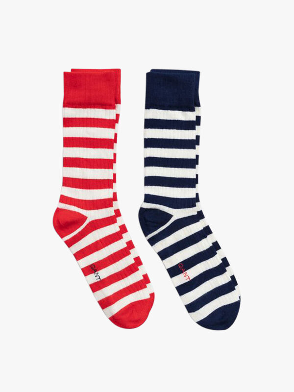2 Pack Solid And Striped Socks