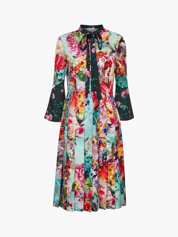 Moody Floral Midi Dress with Bow
