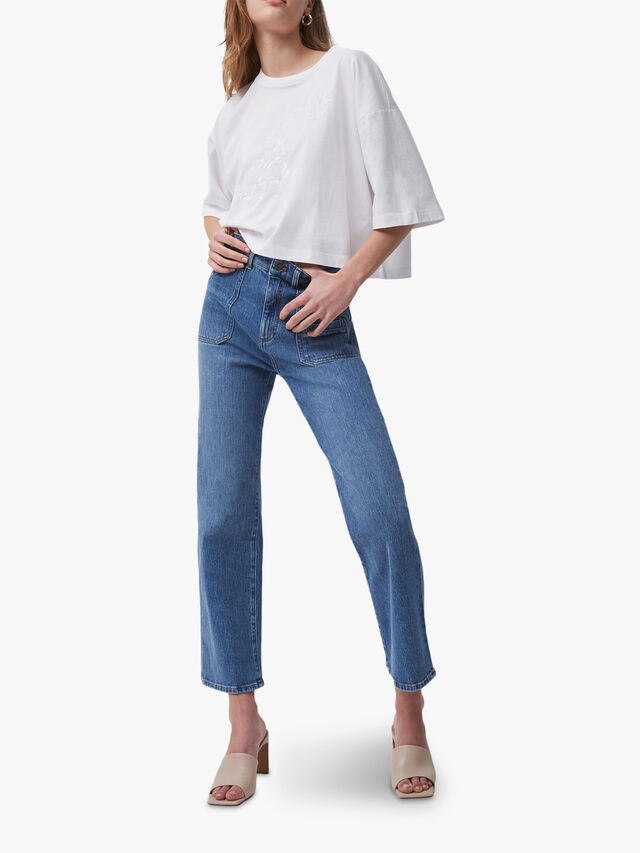 Robyne Recycled Denim Kick Crop Jeans