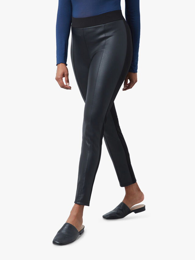 Front Faux Leather Trousers