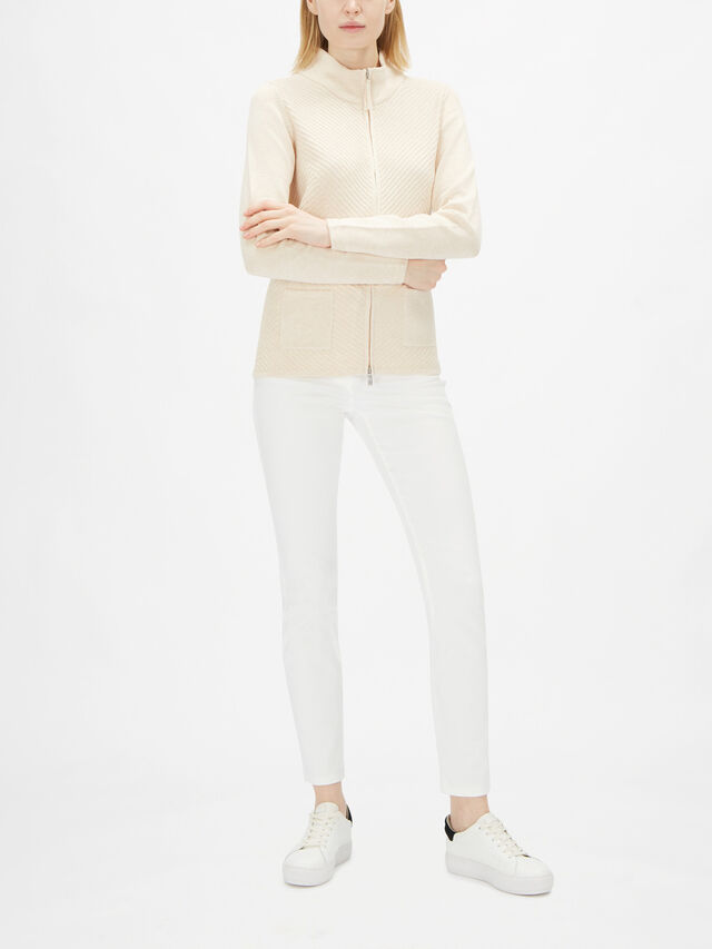 Zip Front Funnel Neck Cardigan With Front Pockets