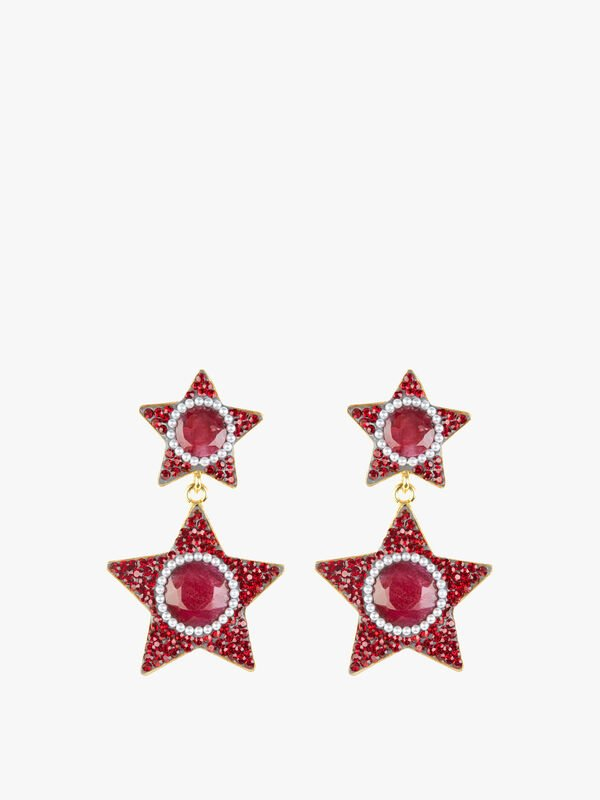 Exclusive Ruby and Pearl Star Earrings