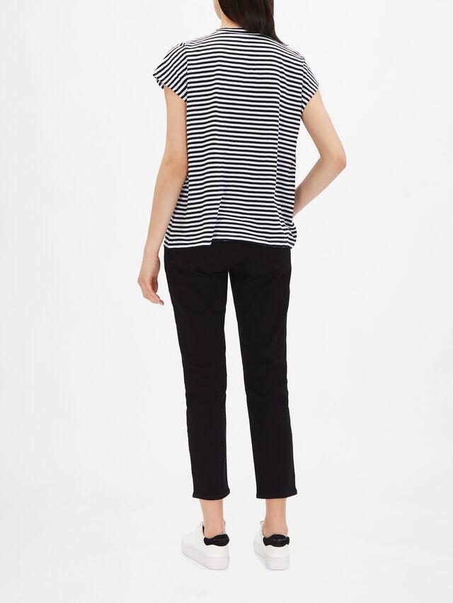 Striped Organic Cotton Jersey Crew Neck Top