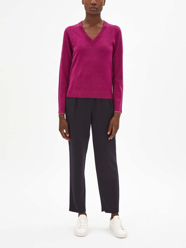 V-Neck Contrast Cuff Knit