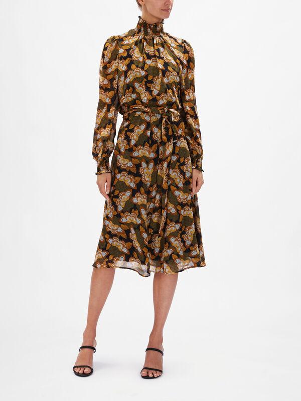 Epopea High Neck Belted Midi Dress
