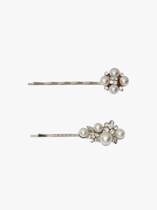 Pearl and Crystal Set of Two clips