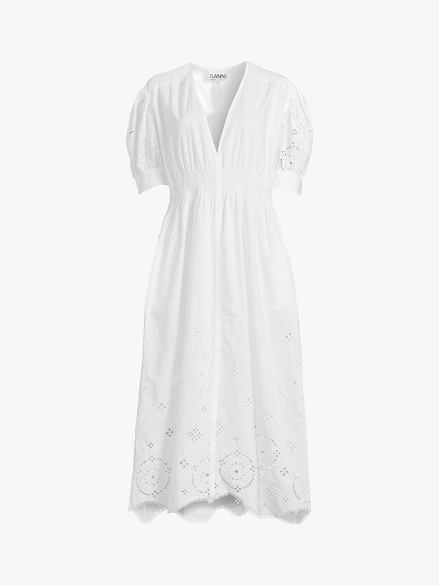 Broderie Anglaise V-Neck Smock Dress
