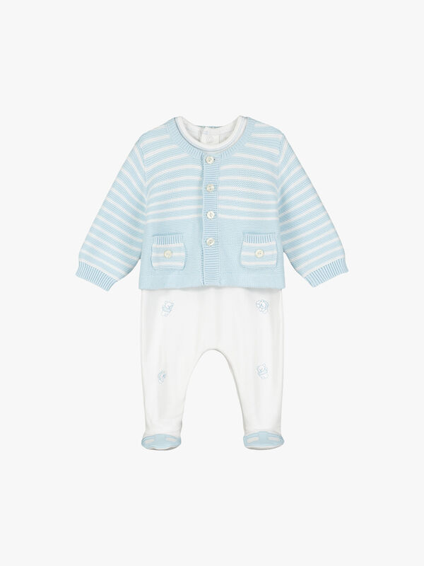 Embroidered Bears And Striped Cardigan Set
