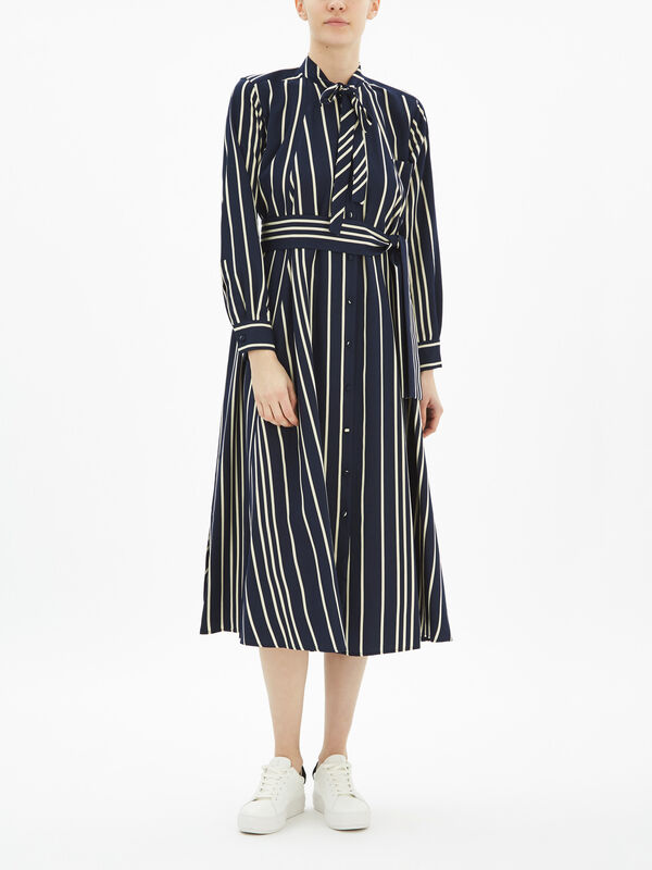 Party Shirt Dress With Neck Tie