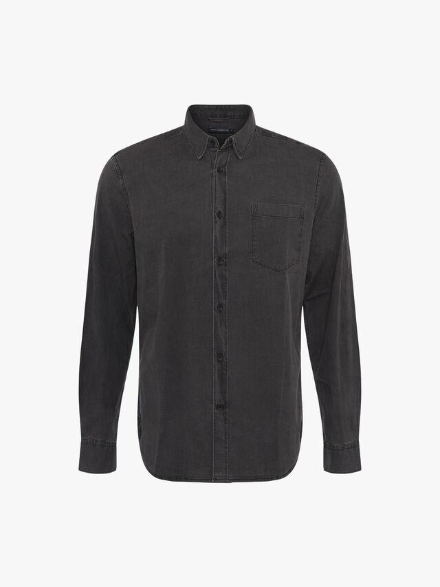 Winter Black Denim Wash Long Sleeve Shirt