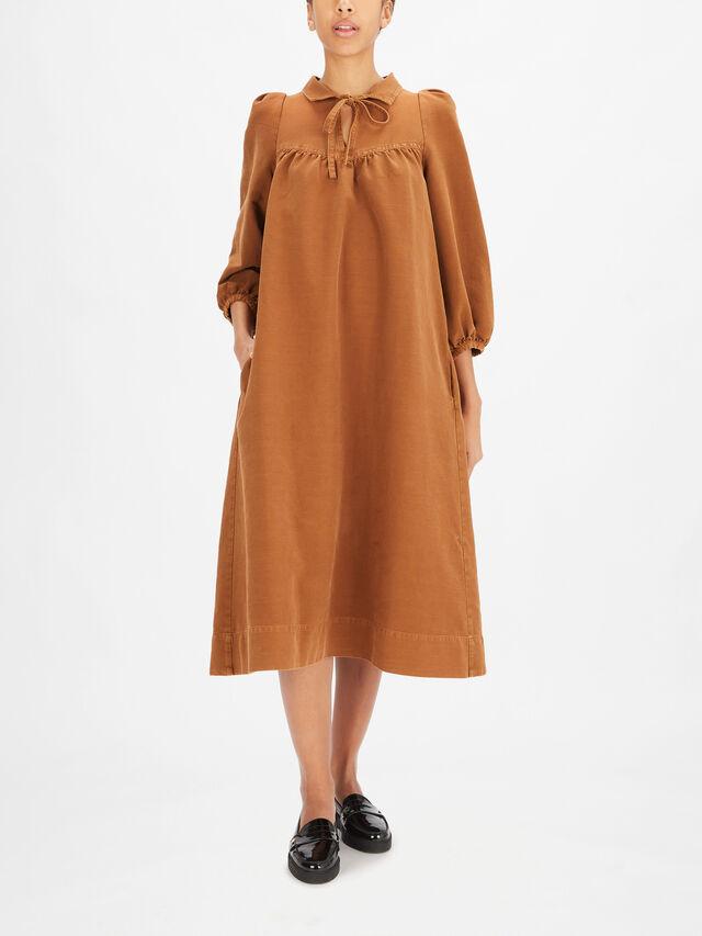 Tied Neckline Puff Sleeve Midi Dress