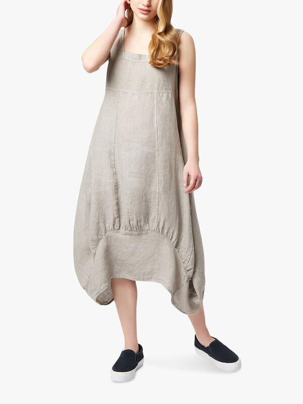 Balloon Square Neck Linen Dress