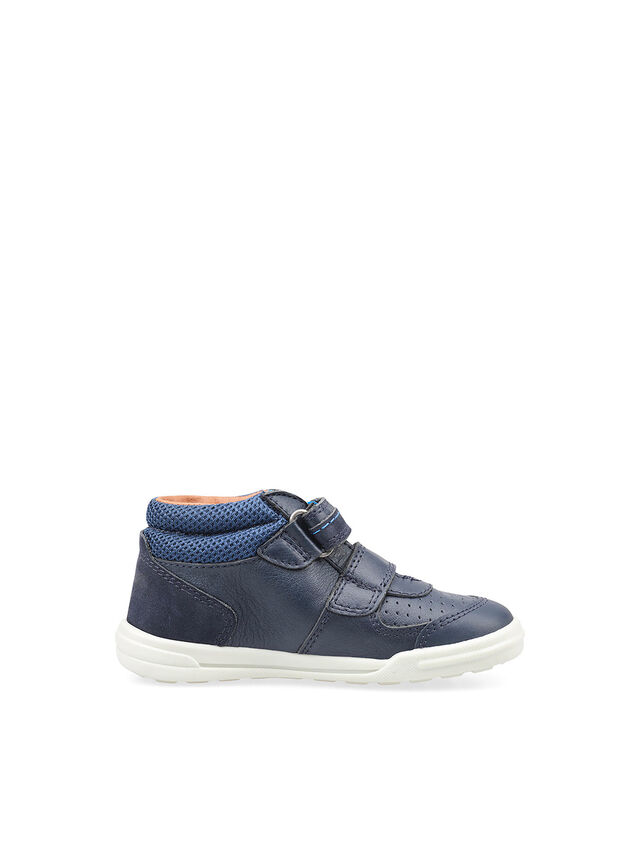 Frisbee Navy Leather High Top Shoes