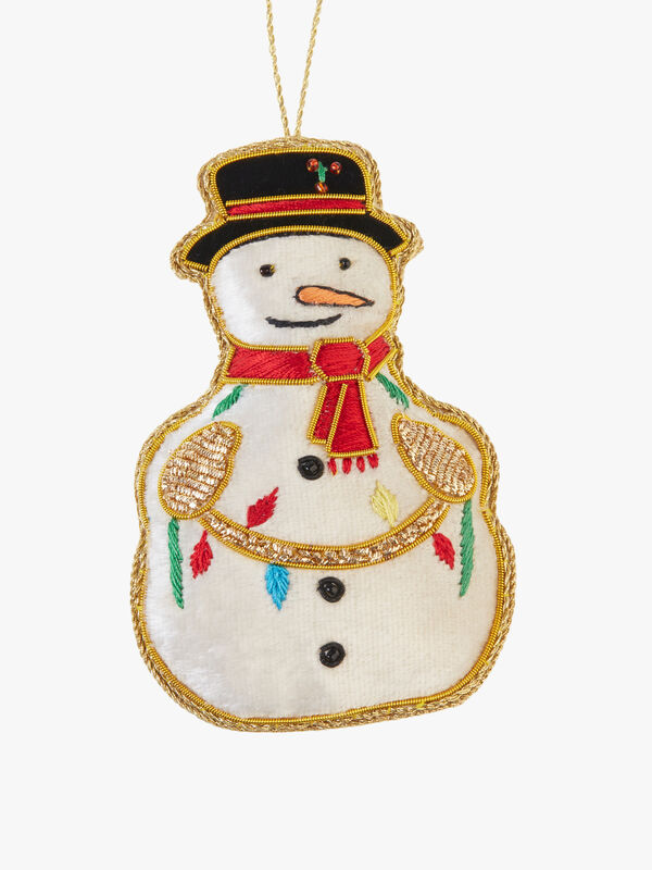 Snowman With Fairy Lights Decoration