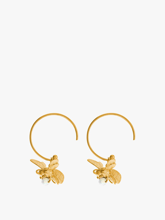 Flying Bee Hoop Earrings