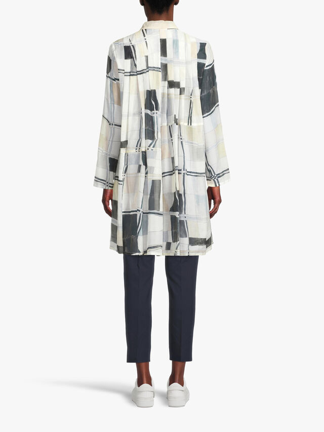 Long Sleeve Longline Abstract Square Print Shirt
