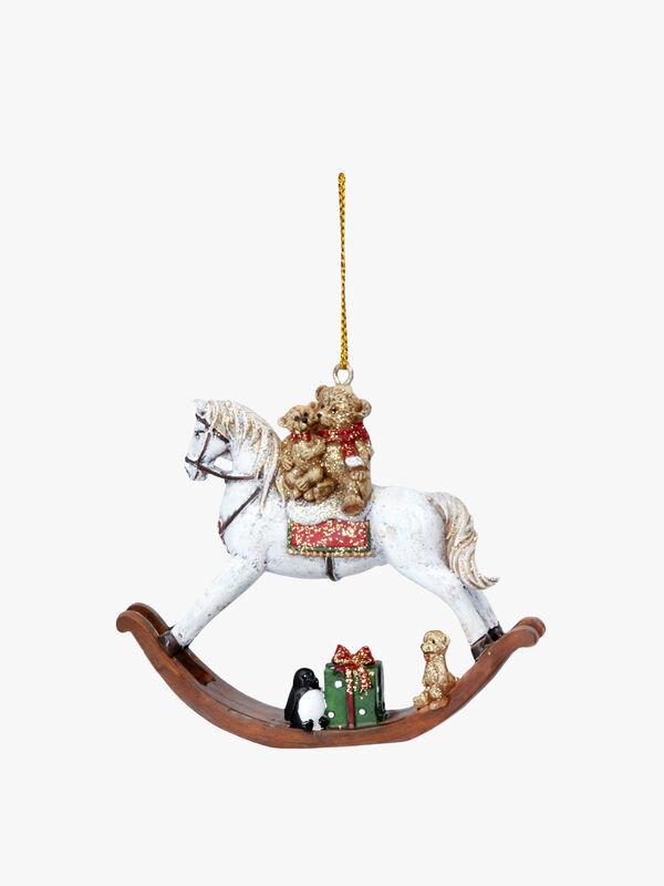 Teddy On Rocking Horse Christmas Decoration