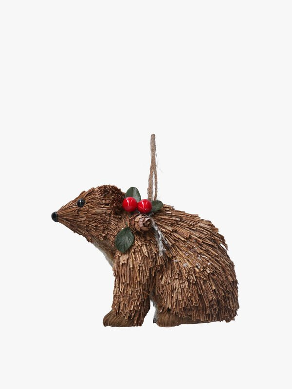 Bristle Sitting Bear Christmas Decoration