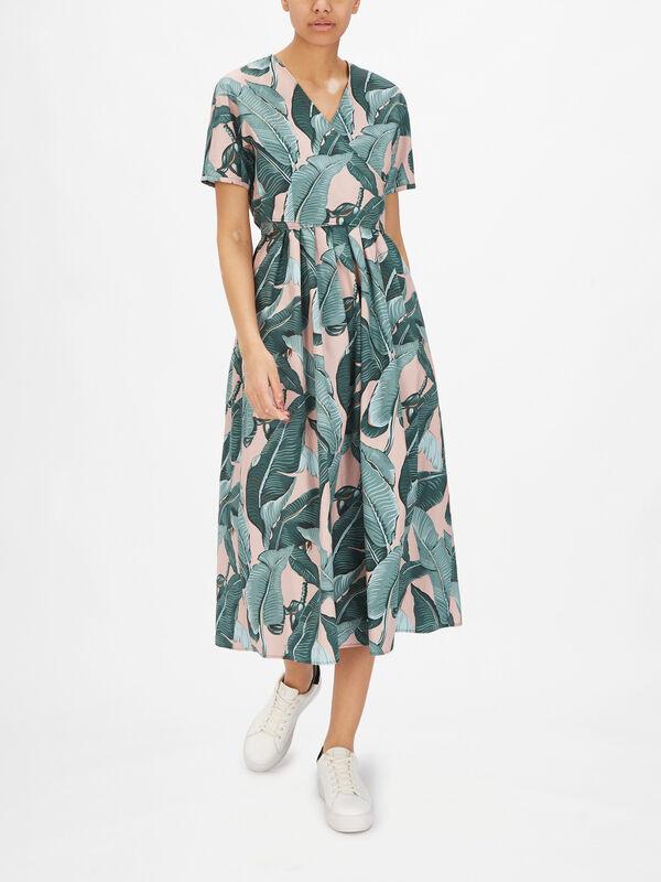 Abbozzi V Neck Short Sleeve Printed Maxi Dress