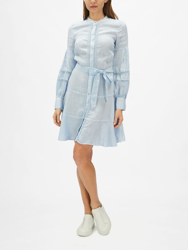 Balloon Sleeve Linen Shirt Dress