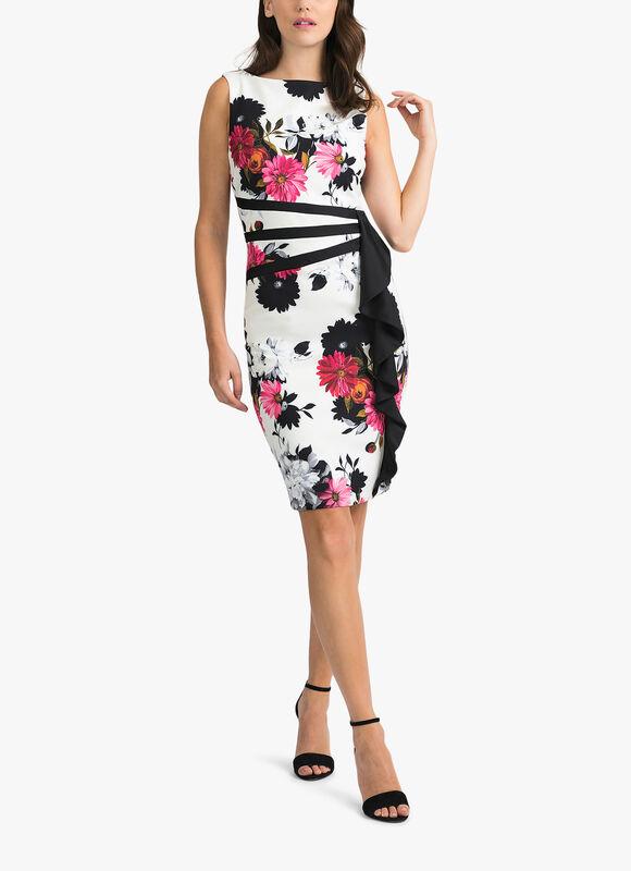 Carnation Print Sless Frill Dress