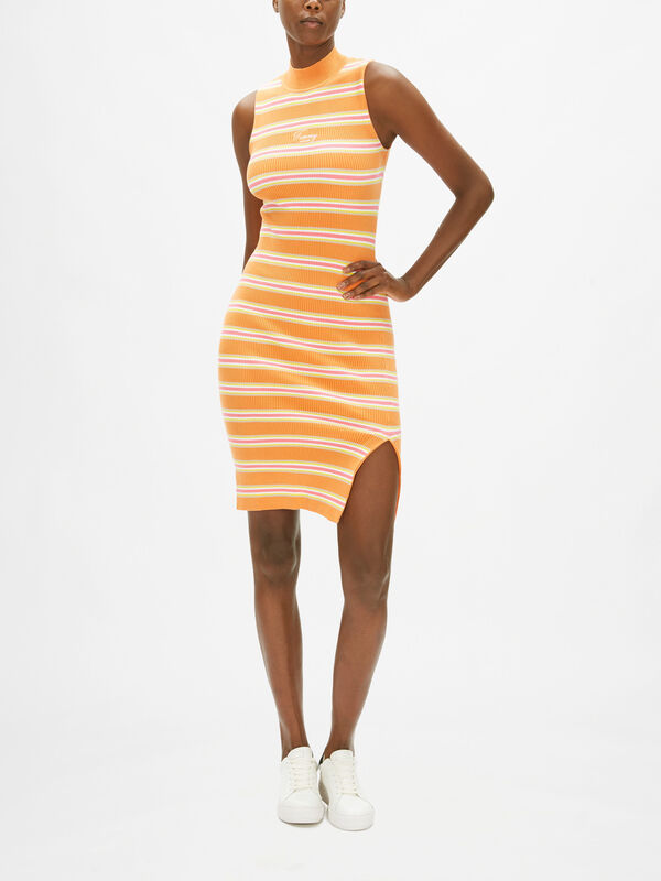 Side Slit Stripe Dress