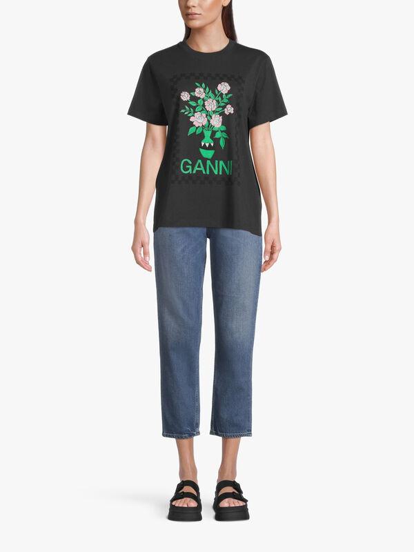 Basic Cotton Floral Logo T Shirt