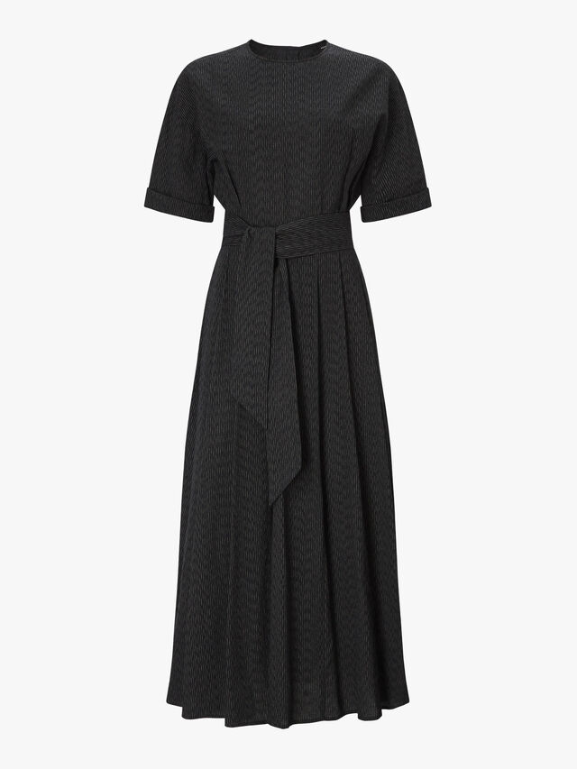Textured Fabric Belted Dress