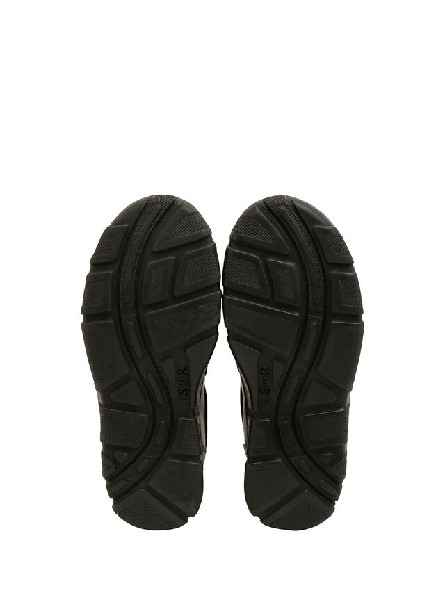 Chance Black Leather School Shoes