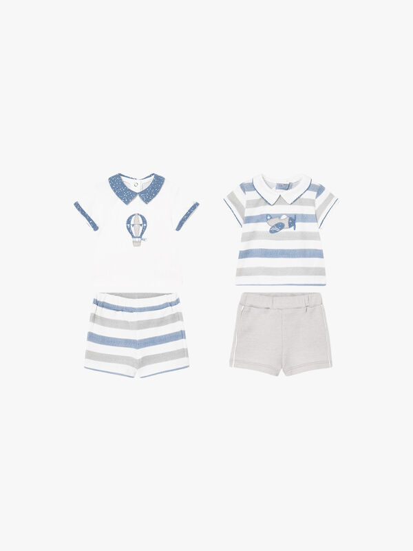 Stripe Polo Shirt & Shorts Set Two Piece Set