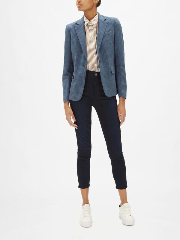 Herringbone Jersey Slim Fit Blazer