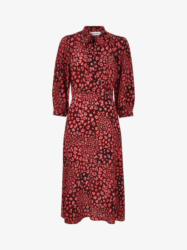 Pussy-Bow Midi Dress