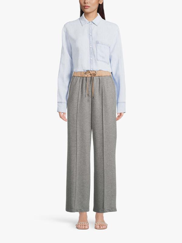 Satin Soft Jersey Wide Leg Trouser